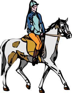 Les cliparts - Un cheval monté par un cavalier en costume traditionnel