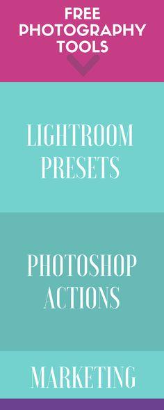 Free lightroom presets, photoshop actions, marketing materials, social media tools