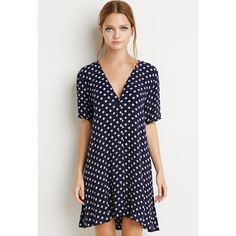Forever 21 Women's  Button-Down Floral Dress ($25) ❤ liked on Polyvore featuring dresses, short-sleeve dresses, blue short sleeve dress, blue floral print dress, slit dress and forever 21