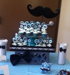 Custom cup cake stand for mustache & bow tie baby shower