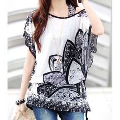 $8.59 Simple Design Scoop Neck Floral Print Color Block Batwing Sleeve Women's Blouse