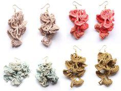 Crochet fan earings