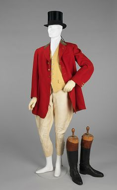 "Riding/fox hunting ensemble, by Tautz & Company, British, ca. 1923. Including the traditional red riding coat sometimes known as ""colors"" or ""Pinks,"" vest, jodhpurs, gloves, top hat and black boots with brown tops or ""tan tops."" Red is the ubiquitous color worn by masters and various other leaders of the hunt, while other participants wear black or navy jackets with a colored collar."