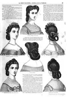 "British Hairdressers' Academy First Hairdressing Contest and Ball of Various hairstyles from the ""La Mode Illustrée"" of Victorian Hairstyles, Modern Hairstyles, Vintage Hairstyles, Civil War Hairstyles, Historical Hairstyles, Historical Costume, Historical Clothing, Historical Dress, Civil War Fashion"
