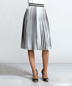 Love this Black & White Pleated Skirt on #zulily! #zulilyfinds