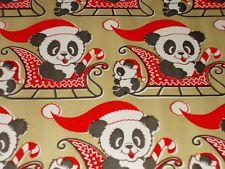 VTG CHRISTMAS WRAPPING PAPER UNUSED GIFT WRAP MCM GOLD PANDA BEAR SANTA HAT
