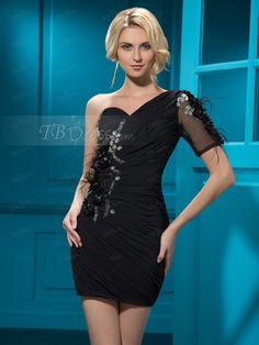 Stunning  Short/Mini Zipper-Up One-Shoulder Crystal Feather Sheath Cocktail  Dress