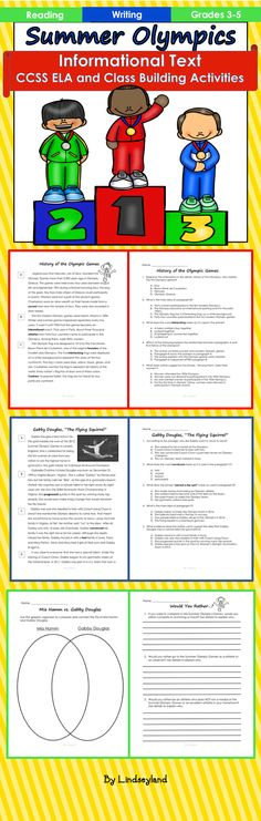 Celebrate the upcoming Summer Olympics by reading & writing about it! Informational texts include the history of the Olympics, the torch, the 2016 Olympics in Rio, and 4 articles about famous Olympians: Jesse Owens, Mia Hamm, Gabby Douglas, and Michael Phelps. 34 pages. Made by Lindseyland.