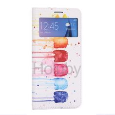 View Window Card Slot Flip Stand TPU+ PU Leather Case for Samsung Galaxy S6 Edge Plus G928 Colorful Graffiti