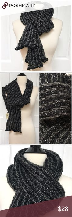 """{Lord & Taylor} Metallic Thread Crochet Scarf BRAND: Lord & Taylor ITEM: Mohair Blend Crochet Metallic Thread Scarf FEATURES: Black/Grey, Silver Metallic Thread Accent FABRIC: 41% Nylon, 34% Acrylic, 23% Mohair, 2% Other SIZE: O/S  CONDITION: NWT  MEASUREMENTS Length: 70"""" Width: 8""""  ALL ITEMS SHIP FROM SMOKE FREE HOME! NO Trades. NO Holds. NO PayPal. NO Lowball Offers. Offer Button Only. Lord & Taylor Accessories Scarves & Wraps"""