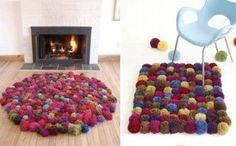 Cómo hacer alfombras de lana con pompones y otras con restos de camisetas
