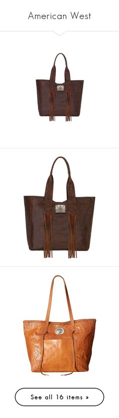 """""""American West"""" by bleubeauty1 on Polyvore featuring bags, handbags, tote bags, brown, casual footwear, casual handbags, zip top tote bags, brown leather pouch, leather zip pouch and purse pouch"""