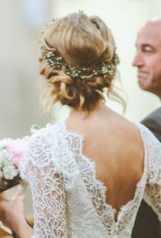 twisted low bun & flower crown