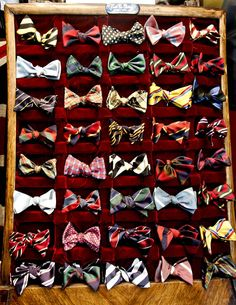 Framed bow ties. This gives me an idea to use regular ties . . .