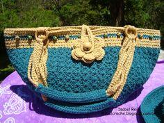 Isabel Crochê : Conjunto de bolsa e chapéu de crochê