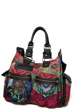 Tas van Desigual voor dames, model London Nylon Stripes uit de Cool-serie. Zeer functionele, superlichte tas met heel veel zakken.