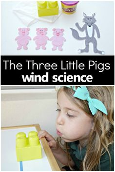 This hands-on Three Little Pigs activity comes with a free printable science observation sheet for preschool and kindergarten. This wind science experiment can be performed rather easily by just grabbing a few objects from around your house or classroom, 3 Little Pigs Activities, Toddler Activities, Science Experiments Kids, Science For Kids, Science Art, Physical Science, Science Projects, Science Activities For Preschoolers, Science Notes