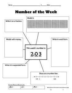 This activity can be used as a warm up or quick weekly spiral review for decimals. Students will relate decimals to fractions, write the decimal in expanded form, model the decimal, etc. Five additional pages with fractions as the number of the week can be found in my store.