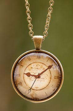 Old Clock Pendant, Antique Clock Necklace, Vintage Pendant, Photo Pendant, Retro…