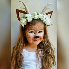 Deer Flower Crown ** Woodland Animal Faun Fawn Floral Headpiece ** With Antlers Costume ideas for kids, toddler costume, deer costume, deer makeup Best Toddler Costumes, Unique Toddler Halloween Costumes, Halloween Make Up, Halloween Crafts, Deer Costume For Kids, Deer Costume Toddler, Couple Halloween, Baby Halloween, Halloween Kids Makeup