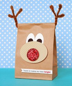 Great Christmas Favour Bag Idea. Rudolph The Red Nose Reindeer Party Bags.
