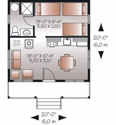 Cottage Style House Plan - 1 Beds 1 Baths 400 Sq/Ft Plan #23-2289 Floor Plan - Main Floor Plan - Houseplans.com