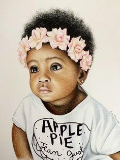 68 Ideas African Children Drawing Baby Girls For 2019 Black Love Art, Black Girl Art, My Black Is Beautiful, Black Girl Magic, Art Girl, Black Child, Black Girls, African American Artwork, African Art