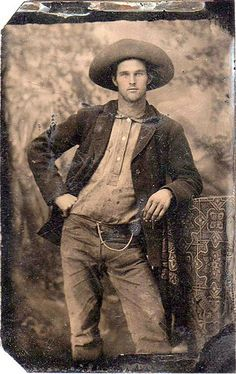Tintype - a posed studio image, of a handsome American cowboy c.1890. ~ {cwl}
