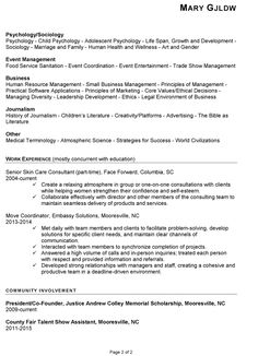 heres a chronological resume sample for a new college grad who was seeking a position in