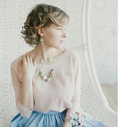 Geometric wood pastel necklace March song. $39,00, via Etsy.