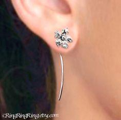 Saintpaulia earrings Long Stem Earrings flower by RingRingRing