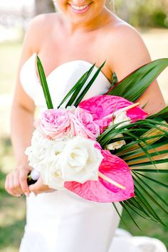 Brunch Wedding at Charleston Harbor Resort & Marina - tropical bouquet. #wedding #flowers #brides #floral #women's  #weddingideas #flowerarrangements #bridesmaid