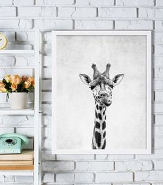 Black and White Giraffe Print - Great for Kids Room (actual physical print sent to you)  Take a look at over a hundred more nursery prints in our nursery decor shop. Nursery art makes for great personal gifts at baby showers or to welcome a loved one into the world! www.etsy.com/shop/CocoAndJames ......................................................................................  {DETAILS}  ♥ Professionally printed on heavy matte finish archival photo paper (rated for 100+ years)  ♥ Ships…