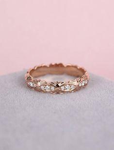 Unique Diamond Ring Rose gold wedding Ring women Flower