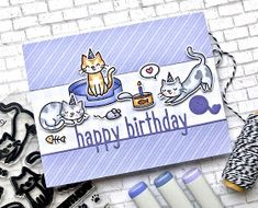 The Queen's Scene: Wishing You a Pawsome Day - Happy Birthday Lines, Cat Birthday, Birthday Cards, Pop Up, Good Day To You, Lawn Fawn Stamps, Rainbow Paper, Cat Cards, Scrapbook Cards