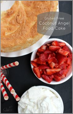 Gluten Free Coconut Angel Food Cake made with coconut flour and topped with coconut whipped cream and fresh strawberries, this is a dessert all will enjoy.