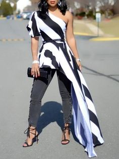 Women One Shoulder Contrast Striped Long Top Asymmetric Blouse 2020 Summer Fashion Stylish Casual Elegant Party Shirt Female Modest Fashion, Fashion Dresses, Long Tops, Look Cool, Pattern Fashion, Chic Outfits, African Fashion, Blouses For Women, Women's Blouses