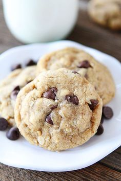 Yum. Whole Wheat Oatmeal Chocolate Chip Cookies on twopeasandtheirpod.com coconut oil not butter