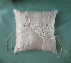 Wedding Ring Cushion lace & satin DOVES or BUTTERFLIES ivory or white