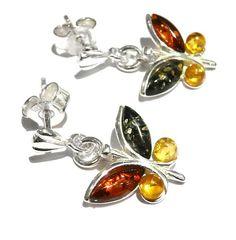 Multi Coloured Amber Butterfly Earrings Amber Earrings, Amber Jewelry, Sterling Silver Jewelry, Butterfly Earrings, Cufflinks, Bling, Pendants, Bracelets, Stuff To Buy