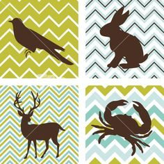A Set Of 4 Seamless Retro Patterns And 4 Silhouettes Of Animals. Could Be Used As Wall Art. Stock Image