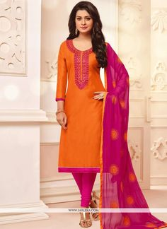Be your very own style diva with this orange cotton churidar suit. Beautified with embroidered work all synchronized very well through the trend and style and design of the attire. Comes with matchi. Churidar Suits, Salwar Kameez, Simple Kurti Designs, Women Wear, Ladies Wear, Ethnic Outfits, Punjabi Suits, Indian Fashion, Party Wear