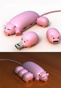 Funny Pig Buddies Usb Hub  Way too cute for words.