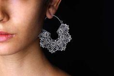 Hoop Earrings  Big Hoops  Lace Earrings  Silver by eleven44jewelry, $110.00