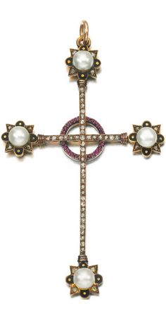 NATURAL PEARL, RUBY, ENAMEL AND DIAMOND PENDANT, ROBERT PHILLIPS, MID 19TH CENTURY Designed as an Iona cross comprising lines of circular-cut diamonds, each terminal decorated with a natural pearl, enamel and rose diamonds, the central circular motif set with circular-cut rubies, stamped RP, fitted case stamped Phillips of Cockspur Street.