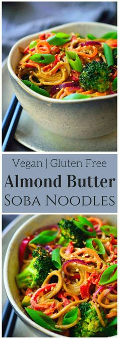 These almond butter noodles are deliciously creamy, quick and easy to make, and packed with a rainbow of veggies. I used soba noodles for this vegan recipe but it works equally well with udon, rice noodles, zoodles or even simple spaghetti. This quick recipe is ready in just 15 minutes and costs $1.84 per serving. via @cilantroandcitr