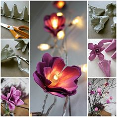 the coolest DIY egg carton trick ever: turn a string of Christmas lights into flower-shaped fairy lights. the coolest DIY egg carton trick ever: turn a string of Christmas lights into flower-shaped fairy lights. Diy Tumblr, Diy Projects To Try, Craft Projects, Craft Ideas, Decor Ideas, Decorating Ideas, Holiday Decorating, Diwali Festival Of Lights, Diy Lampe