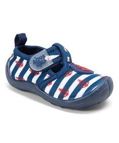 Navy & Red Anchor Stripe T-Strap Water Shoe #zulily #zulilyfinds