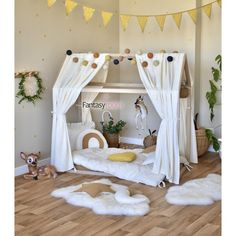 Dinki Balloon Musselin Himmel für Hausbett 'Punkte' creme/gold ca. Baby Boy Rooms, Baby Bedroom, Baby Room Decor, Kids Bedroom, Baby Room Ideas Early Years, Baby Room Neutral, Baby Room Design, House Beds, Kids House
