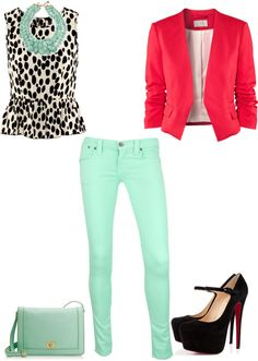 """Mint Jeans Look"" by stylelover10 on Polyvore this is super cute!!! Definitely in need of some $$$ :)"